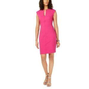 Bar III Split Neck Bodycon Dress, Pink, Size L